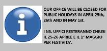 Closures 25th April 1st May